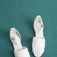 Slip On Leather Sandals in White
