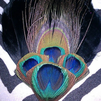 Peacock feather fascinator, black feather fascinator, wedding couture, bridal peacock feather clip,peacock, peacock bridal, peacock wedding