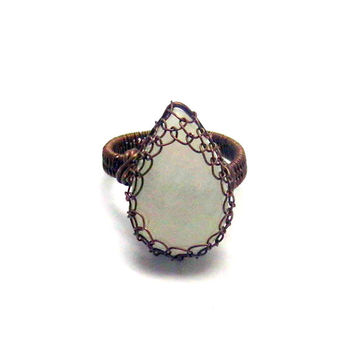 Rainbow Moonstone Teardrop Copper Ring, Wire Wrapped Statement Ring