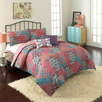 Vue 13813BEDDQUEMUL Ondrian Multi-Colored Five-Piece Queen Reversible Comforter Set - (In No Image Available)
