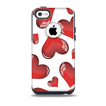 The Glossy Red 3D Love Hearts Skin for the iPhone 5c OtterBox Commuter Case