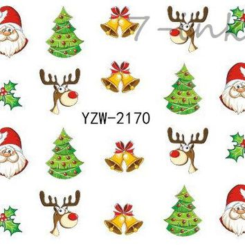 Water Transfer stickers for nail art cute merry Christmas snowflake tree Bells Design Fingernails Decals Manicure  stickers