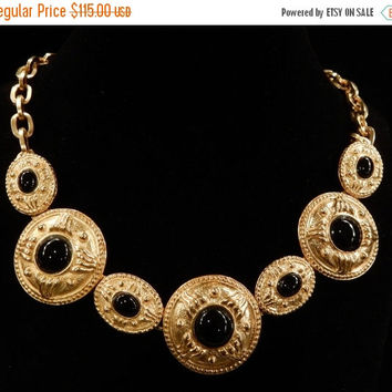 Thanksgiving sale Beautiful Bold Vintage Alexis Kirk Black Glass Cabochon Medallion Style Necklace