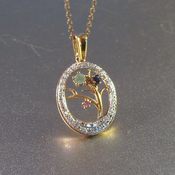 Sterling Gemstone Tree of Life Pendant Necklace, Ruby Emerald Sapphire, Gold Vermeil, Diamond Cut, Wedding Jewelry