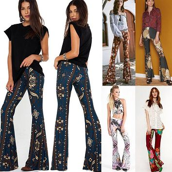 Fashion Women VINTAGE Hippie BOHO Tie Dye Gypsy Bell Bottom Loose Wide Leg Flared Long Pants
