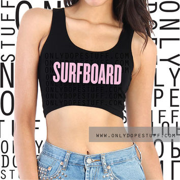 Surfboard Crop Top Tank I Woke Up Like This Womens Girls Scoopneck Sleeveless Surfboard Shirt Top Beyonce [Small Medium Lar] On The Run Tour