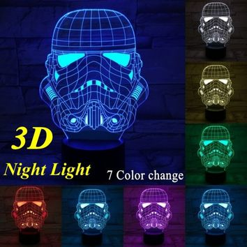Star Wars 3D LED Night Light Touch Switch Table Lamp USB 7 Color Room Decor Colorful LED Lighting for Gift