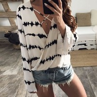 Chiffon Summer V-neck Long Sleeve Tops [21471199258]