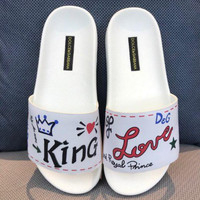 DOLCE&GABBANA D&G Sacred Heart Patched Slippers