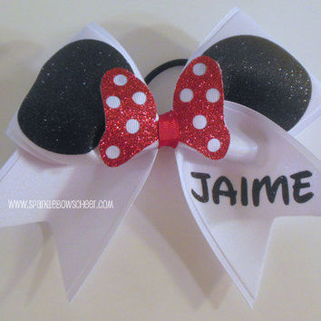 Miss Mouse Cheer Bow Custom Name Hair Bow Cheerleading