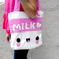 Milk Tote Bag - Cute Schoolbag , Kawaii Backpack