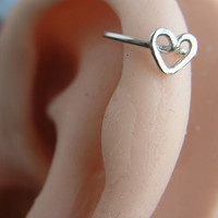 Hammered Love Heart Cartilage hoop - Sterling Silver