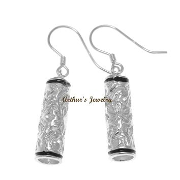 RHODIUM PLATED SILVER 925 HAWAIIAN PLUMERIA SCROLL BARREL HOOK EARRINGS