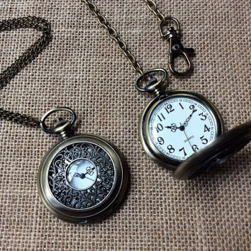 Vintage-Style Filigree Watch Necklace or Pocket Watch (large)