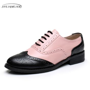 Women Cow leatheroxford casual shoes big us 10 black pink handmade 2017 flats shoes oxfords shoes for women with fur