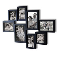 Adeco Decorative Black Wood Wall Hanging Collage Picture Photo Frame, 8 Openings, Various Sizes