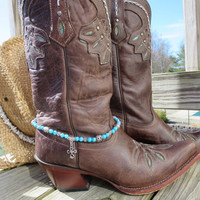 Southwest Beaded Cowgirl Western Cowboy Boot Bracelet Boot Bling Southwest Charming Turquoise Silver Boot Jewelry Anklet or Choker Necklace
