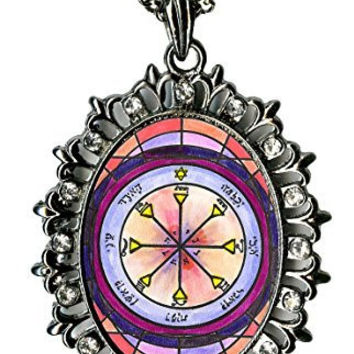 Solomons 4th Sun for Seeing the Reality in Others Huge Gunmetal Medallion Rhinestone Pendant