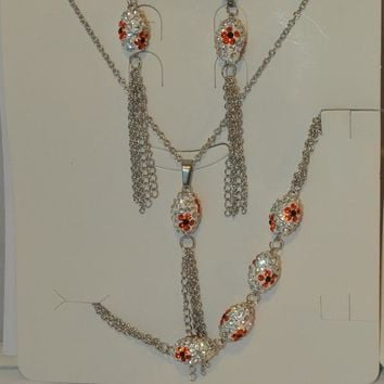 "MSET-SS-624-E3 Stainless Evil Eye Necklace and Earrings Set. 16"" necklace. Two colors available."