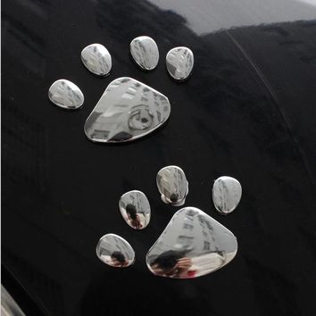 Decoration Silver 3D Paw Car Sticker Decals Car-styling Auto Motorcycle Sticker 1 Pair Bear Dog Animal Paw Foot Print Cute