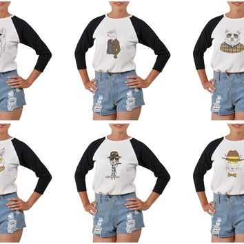 Women's Animal Retro Style Printed Elbow Sleeves T- Shirt WTS_03