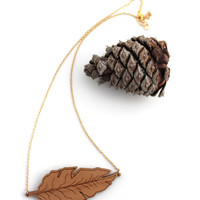 Wooden Leaf Necklace - Laser Cut Wooden Modern Rustic Fashion Jewelry