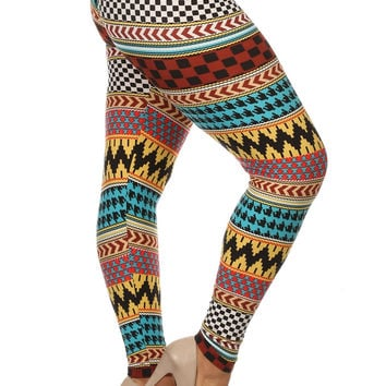 Always Strectch Checker Print Aztec Leggings - Plus Size