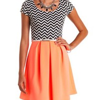Chevron Print & Neon Belted Skater Dress - Black Combo