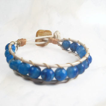 Blue Wrap Bracelet Leather Wrap Bracelet Beaded Bracelet
