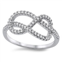 Sterling Silver Modern Infinity Knot Round Cut CZ Ring size 4-10
