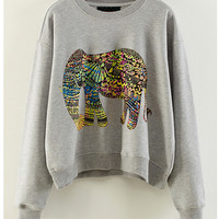 Multicolor Elephant Print Ribbed Cuff Sleeve Sweater