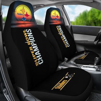 Pittsburgh Steelers Auto Seat Covers 2pcs Super Bowl Champs