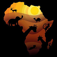 'African Animals' Sahara Bush Wildlife 18x24 - Vinyl Print Poster