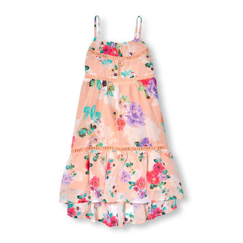 Girls Sleeveless Floral Print Crochet Tier Maxi Dress | The Children's Place