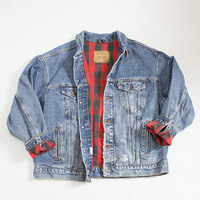 Vintage LEVI'S Denim Jacket - Flannel Plaid Blanket Lined Jean Jacket 1990s - X Large 50""