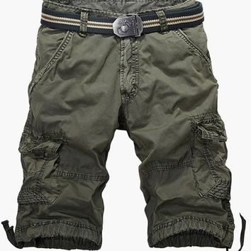 Mens Khaki Long Cargo Shorts