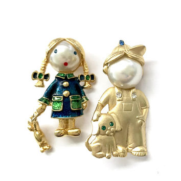 Little Girl w/Doll Little Boy w/Dog Brooches Faux Pearl Faces Blue & Green Enamel Blue Green Clear Rhinestones Boy Marked JJ, Gift for Her