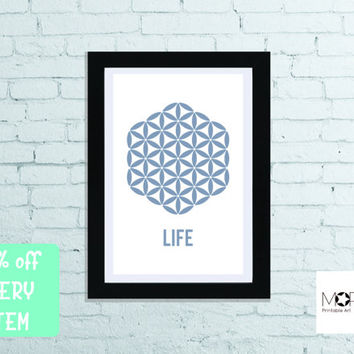"The Flower Of Life Printable Art instant download. Life Sacred Geometry Decoration Christmas gift Home Decor letter 8.5""x11"" tabloid 11""x17"""