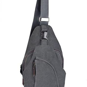 OuterStar Casual Canvas Sling Backpack Chest Bag for Men Woman (Grey)