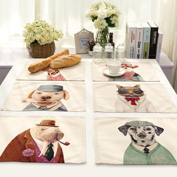 Animal Head Portrait Hand Series Printing Cotton Home Furnishing Fabric Art Western-style Food Pad Foreign Trade Tableware Pad