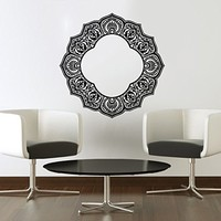 Mandala Wall Decal Namaste Indian Lotus Flower Yoga Ornament Geometric Moroccan Pattern Wall Vinyl Decals Sticker Home Decor Mural Design Graphic Bedroom (6068)