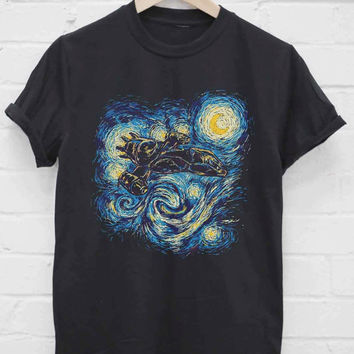Custom Tshirt starry night sky painting firefly serenity screenprint