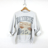 Oakland RAIDERS Football sweatshirt 1990s NFL Super Bowl sweatshirt. Heather Gray vintage athletic crewneck pullover. Size XL Extra Large