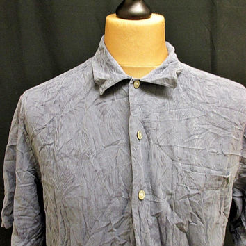 Vintage Croft And Barrow Blue Hawaiian Shirt Large
