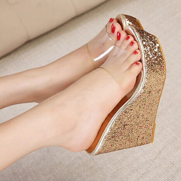 Pretty Transparent Upper Glitter Wedge Slippers Fashion Sequins High Heel Slippers Women Summer Shoes  Ladies Wedges Sandals