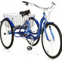 "26"" Schwinn Meridian Adult 3 Wheeled Tricycle Bike with Storage Basket, Blue"