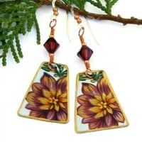 Flower Vintage Tea Tin Earrings, Burgundy Crystals Handmade Jewelry