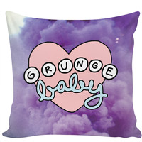 Grunge Baby Heart Kawaii EDM 90s Popular Teen Pastel Princess Pillow