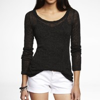 METALLIC POINTELLE KNIT LAYERING TEE