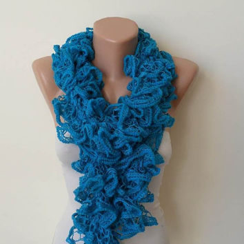 Mother's Day - Ruffle Crochet Knit Necklace Scarf -  Blue  - Soft - Cowl - Scarf by Umbrella Design
